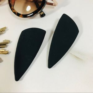 Flint+Feather Matte Black Nina Stud Earrings NWT